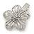 Clear Austrian Crystal Open Daisy Flower Hair Beak Clip/ Concord Clip/ Clamp Clip In Silver Tone - 60mm L - view 7