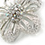 Clear Austrian Crystal Open Daisy Flower Hair Beak Clip/ Concord Clip/ Clamp Clip In Silver Tone - 60mm L - view 3