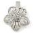 Clear Austrian Crystal Open Daisy Flower Hair Beak Clip/ Concord Clip/ Clamp Clip In Silver Tone - 60mm L - view 6