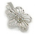 Clear Austrian Crystal Open Daisy Flower Hair Beak Clip/ Concord Clip/ Clamp Clip In Silver Tone - 60mm L - view 5