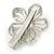 Clear Austrian Crystal Open Daisy Flower Hair Beak Clip/ Concord Clip/ Clamp Clip In Silver Tone - 60mm L - view 4