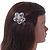 Clear Austrian Crystal Open Daisy Flower Hair Beak Clip/ Concord Clip/ Clamp Clip In Silver Tone - 60mm L - view 2