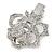 Clear Austrian Crystal Open Rose Hair Beak Clip/ Concord Clip/ Clamp Clip In Silver Tone - 60mm L