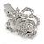 Clear Austrian Crystal Open Rose Hair Beak Clip/ Concord Clip/ Clamp Clip In Silver Tone - 60mm L - view 6