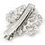 Clear Austrian Crystal Open Rose Hair Beak Clip/ Concord Clip/ Clamp Clip In Silver Tone - 60mm L - view 3