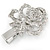 Clear Austrian Crystal Open Rose Hair Beak Clip/ Concord Clip/ Clamp Clip In Silver Tone - 60mm L - view 5