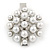Clear Crystal Glass Pearl Flower Hair Beak Clip/ Concord Clip/ Clamp Clip In Silver Tone - 45mm L - view 6
