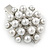 Clear Crystal Glass Pearl Flower Hair Beak Clip/ Concord Clip/ Clamp Clip In Silver Tone - 45mm L - view 5