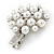Clear Crystal Glass Pearl Flower Hair Beak Clip/ Concord Clip/ Clamp Clip In Silver Tone - 45mm L - view 3