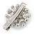 Clear Crystal Glass Pearl Flower Hair Beak Clip/ Concord Clip/ Clamp Clip In Silver Tone - 45mm L - view 4