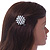 Clear Crystal Glass Pearl Flower Hair Beak Clip/ Concord Clip/ Clamp Clip In Silver Tone - 45mm L - view 2