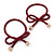 Two Piece Burgundy Bow with Gold Tone Bead Design Hair Elastic Set/ Ideal For School