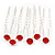 Bridal/ Wedding/ Prom/ Party Set Of 6 Siam Red Austrian Crystal Hair Pins In Silver Tone