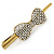 Vintage Inspired Gold Tone Clear Crystal, Glass Pearl Bow Hair Beak Clip/ Concord Clip - 11.5cm Length