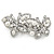 White Glass Pearl, Clear Crystal Butterfly Barrette Hair Clip Grip In Silver Tone - 70mm Across - view 4