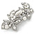 White Glass Pearl, Clear Crystal Butterfly Barrette Hair Clip Grip In Silver Tone - 70mm Across - view 7