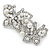 White Glass Pearl, Clear Crystal Butterfly Barrette Hair Clip Grip In Silver Tone - 70mm Across