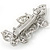White Glass Pearl, Clear Crystal Butterfly Barrette Hair Clip Grip In Silver Tone - 70mm Across - view 5