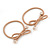 Two Piece Nude Bow with Gold Tone Bead Design Hair Elastic Set/ Ideal For School