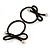 Two Piece Dark Brown Bow with Gold Tone Bead Design Hair Elastic Set/ Ideal For School