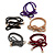 5 Multicoloured Bow with Gold Tone Bead Design Hair Elastic Set/ Ideal For School