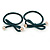 Two Piece Dark Green Bow with Gold Tone Bead Design Hair Elastic Set/ Ideal For School - view 6