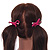 Two Piece Pink Bow with Gold Tone Bead Design Hair Elastic Set/ Ideal For School - view 2