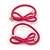 Two Piece Pink Bow with Gold Tone Bead Design Hair Elastic Set/ Ideal For School - view 3