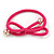 Two Piece Pink Bow with Gold Tone Bead Design Hair Elastic Set/ Ideal For School - view 4