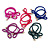 Two Piece Violet Blue Bow with Gold Tone Bead Design Hair Elastic Set/ Ideal For School - view 4