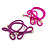 Two Piece Violet Blue Bow with Gold Tone Bead Design Hair Elastic Set/ Ideal For School - view 5