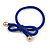 Two Piece Violet Blue Bow with Gold Tone Bead Design Hair Elastic Set/ Ideal For School - view 7