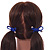 Two Piece Violet Blue Bow with Gold Tone Bead Design Hair Elastic Set/ Ideal For School - view 2