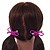Two Piece Deep Pink Bow with Gold Tone Bead Design Hair Elastic Set/ Ideal For School - view 2