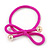 Two Piece Deep Pink Bow with Gold Tone Bead Design Hair Elastic Set/ Ideal For School - view 3