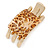 Gold Tone Animal Print Acrylic Hair Claw/ Clamp - 70mm Long