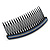 Black Acrylic With Blue/ AB Crystal Accent Hair Comb - 11cm