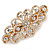 Bridal Wedding Prom Gold Tone Filigree Diamante Floral Barrette Hair Clip Grip - 80mm Across