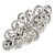 Bridal Wedding Prom Silver Tone Filigree Diamante Floral Barrette Hair Clip Grip - 80mm Across