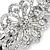 Bridal Wedding Prom Silver Tone Filigree Diamante Floral Barrette Hair Clip Grip - 80mm Across - view 2