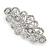 Bridal Wedding Prom Silver Tone Filigree Diamante Floral Barrette Hair Clip Grip - 80mm Across - view 6