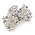 Small Bridal/ Prom/ Wedding Acrylic Flower, Faux Pearl Bead Crystal Bow Hair Claw In Silver Tone Metal - 60mm Across - view 5