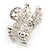 Small Bridal/ Prom/ Wedding Acrylic Flower, Faux Pearl Bead Crystal Bow Hair Claw In Silver Tone Metal - 60mm Across - view 4