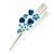 Medium Blue Crystal, Triple Rose Hair Beak Clip/ Concord/ Alligator Clip In Silver Tone - 75mm L