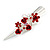 Medium Red Crystal, Rose Floral Hair Beak Clip/ Concord/ Alligator Clip In Silver Tone - 75mm L - view 4