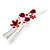 Medium Red Crystal, Rose Floral Hair Beak Clip/ Concord/ Alligator Clip In Silver Tone - 75mm L - view 10