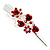 Medium Red Crystal, Rose Floral Hair Beak Clip/ Concord/ Alligator Clip In Silver Tone - 75mm L - view 11
