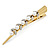 Long Vintage Inspired Gold Tone Clear Crystal White Faux Pearl Hair Beak Clip/ Concord/ Crocodile Clip - 13cm L