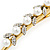 Long Vintage Inspired Gold Tone Clear Crystal White Faux Pearl Hair Beak Clip/ Concord/ Crocodile Clip - 13cm L - view 4