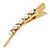 Long Vintage Inspired Gold Tone Clear Crystal White Faux Pearl Hair Beak Clip/ Concord/ Crocodile Clip - 13cm L - view 6